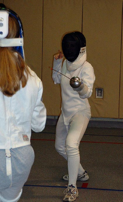Karen and Kaylyn fencing